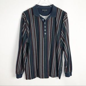 Structure Vertical Stripe Rugby Polo Shirt Large